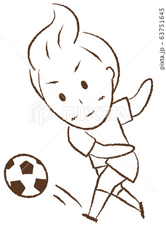 サッカーをする少年 シュート 63751645