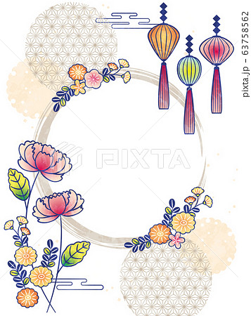 flowers frame with peony and lantern 63758562