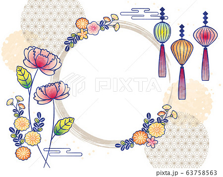 flowers frame with peony and lantern 63758563