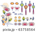 illustration set of peony and lantern 63758564