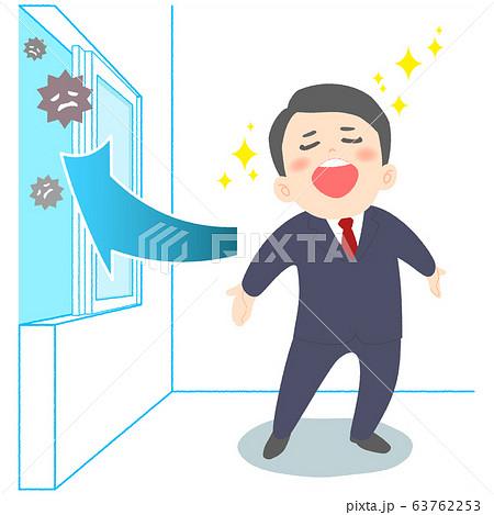 換気したオフィスで深呼吸するサラリーマン 63762253