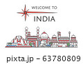 Welcome to India poster in linear style 63780809