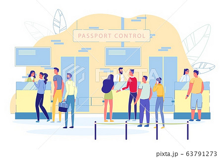 Passengers in Line at Airport Passport Control. 63791273