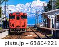 《富山県》雨晴駅・氷見線と立山連峰 63804221