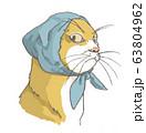 ほっかむりの猫 63804962