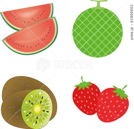 果物4点セット(スイカ・メロン・キウイ・いちご)ベクター 63806602