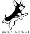 ジャンプするミニチュアピンシャー モノクロ 63826324