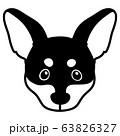 ミニチュアピンシャー 正面顔 モノクロ 63826327