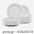 Stack plates. Kitchenware ceramic dishes for cooking mockup plates and bowls vector realistic 63826378
