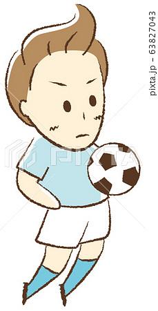 サッカーをする少年 胸トラップ 63827043