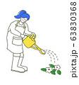 じょうろで水をあげる女の子 イラスト 63830368