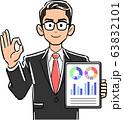 タブレットPCを持ちOKのサインを出す眼鏡をかけたビジネスマン 63832101