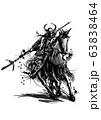 騎馬武者_02 モノクロ 63838464