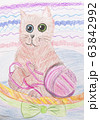 Children pencil drawing of a cat view 63842992