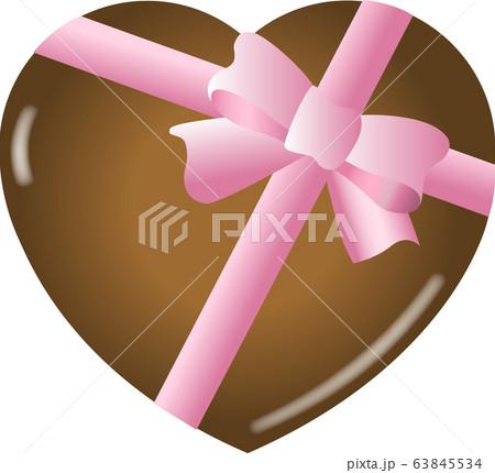 ハート型チョコレート(ピンクのリボン)ベクター 63845534