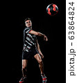 caucasian young handball player man isolated black background 63864824