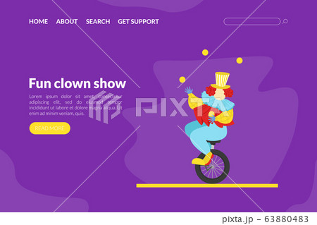 Fun Clown Show Landing Page Template, Circus Performance with Funny Juggling Comedian Web Page, Mobile App, Homepage Vector Illustration 63880483