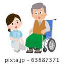 車椅子のおじいさん 介助 寄り添う女性介護士 イラスト 63887371