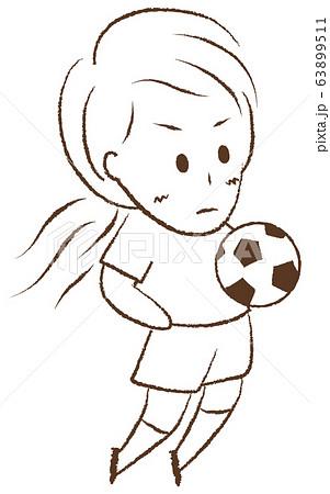 サッカーをする女の子 胸トラップ 63899511