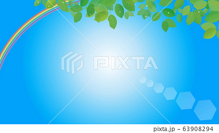 綺麗な虹と青空の背景イラスト 63908294