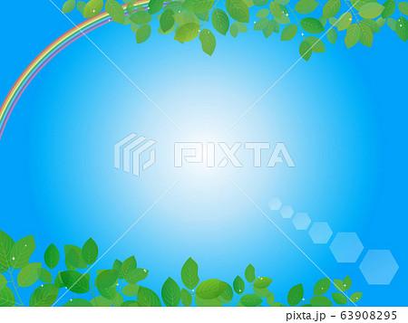 綺麗な虹と青空の背景イラスト 63908295