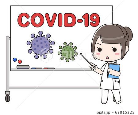 新型コロナウイルスCOVID-19の説明をする女性医療従事者 63915325