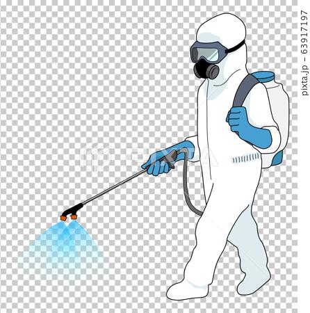防護服を着用して噴霧する作業員 ホワイト 影付き 63917197