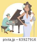 演奏するジャズミュージシャン。ピアノ奏者とヴォーカリスト。 63927916
