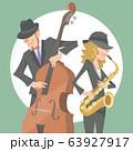 演奏するジャズミュージシャン。ベース奏者とアルトサックス奏者。 63927917