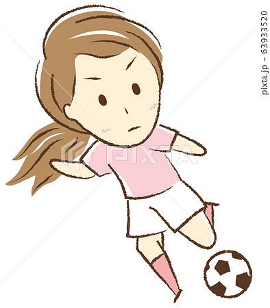 サッカーをする女の子 キック 63933520