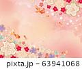桜:金魚 和風 アート 背景素材 背景 水彩 手書き 泳ぐ アクアリウム 魚 63941068
