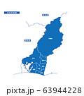 浜松市地図 シンプル青 市区町村 63944228