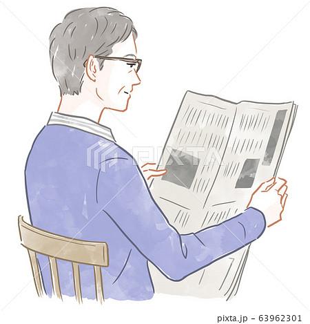 新聞を読む男性 63962301