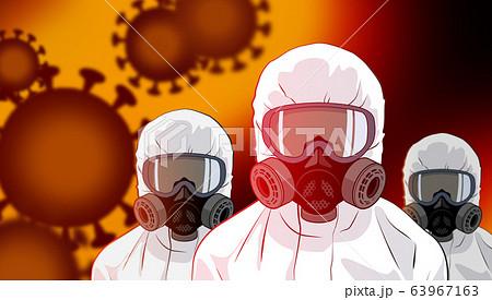 防護服でコロナウイルスに立ち向かう人々 63967163