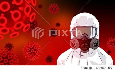 防護服でコロナウイルスに立ち向かう人 63967165
