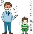 子どもを強く叱りつける父親 63980820
