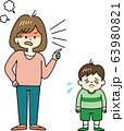 子どもを強く叱りつける母親 63980821