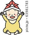 こどもの日(かぶとを被った赤ちゃん) 63981783