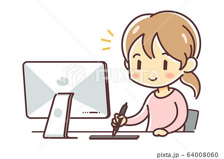 ペンタブレットを使って制作する女性(mac・板タブ) 64008060