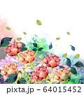 バラ花束水彩画 64015452