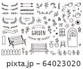 花や葉っぱ、ベンチの手描きイラストセット 64023020