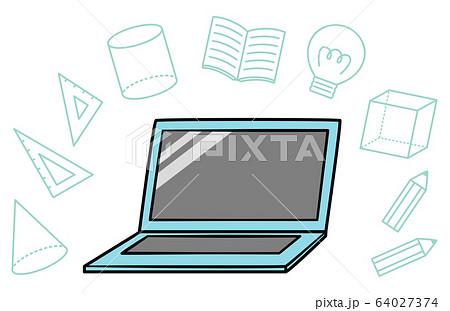 illustration of pc with school icon 64027374