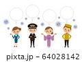 コロナウィルスに悩まされる旅行業界スタッフのイラスト素材(フキダシあり) 64028142