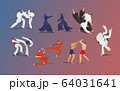 Martial battle sparring people vector illustration set, cartoon two fighter characters, men in kimono self defense presentation 64031641