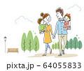 イラスト素材:手をつないで笑顔で仲良く散歩する幸せな家族 64055833