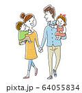 イラスト素材:手をつないで笑顔で仲良く散歩する幸せな家族 64055834