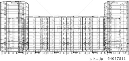 Vector wire-frame model of a multi-storey building 64057811