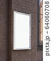 Blank white glass rectangular poster mockup brick wall mounted 64060708