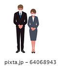 マスク姿のビジネスマン ビジネスウーマン イラスト 64068943