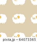 羊のシームレスパターン ベージュ 64073365